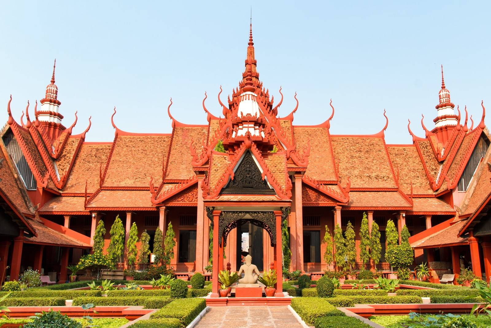 Exterior of the National Museum of Cambodia in Phnom Penh in Cambodia against blue sky