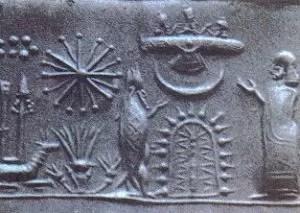 Artefakty z Mezopotamii przedstawiający obcych