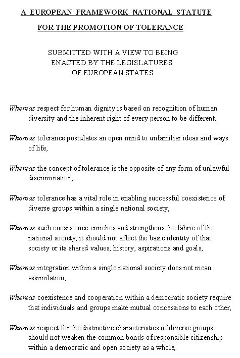 Toleranzgesetz - Bildquelle: Screenshot-Ausschnitt European Framework National Statute For The Promotion Of Tolerance