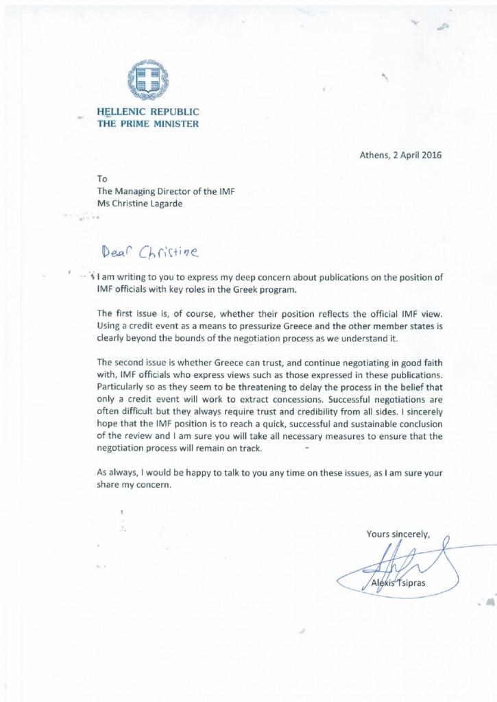 Brief Tsipras an Lagarde - Bildquelle: www.scribd.com