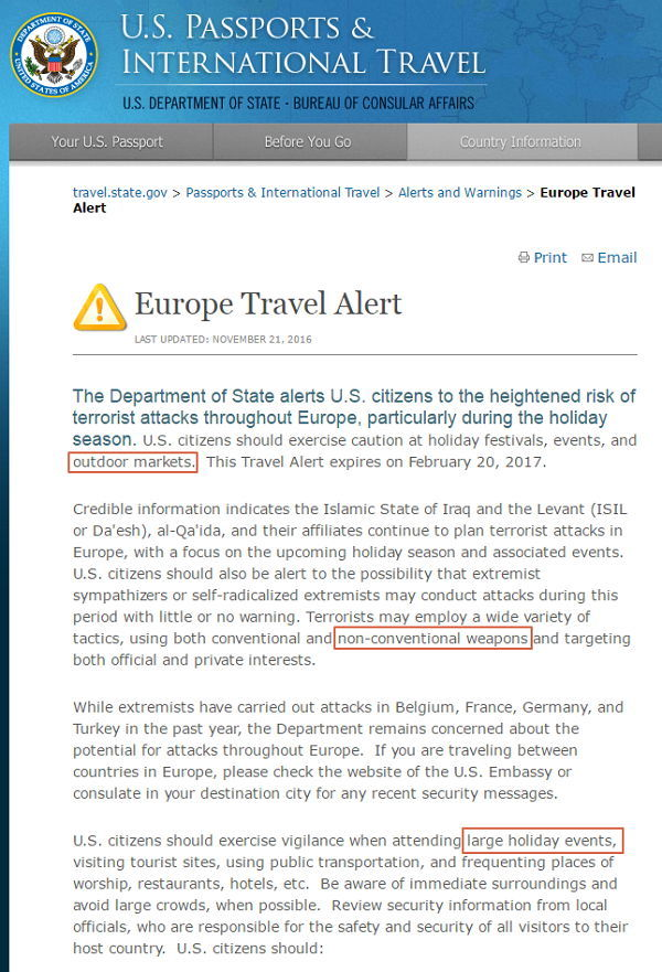 Reisewarnung - Bildquelle: Screenshot-Ausschnitt travel.state.gov