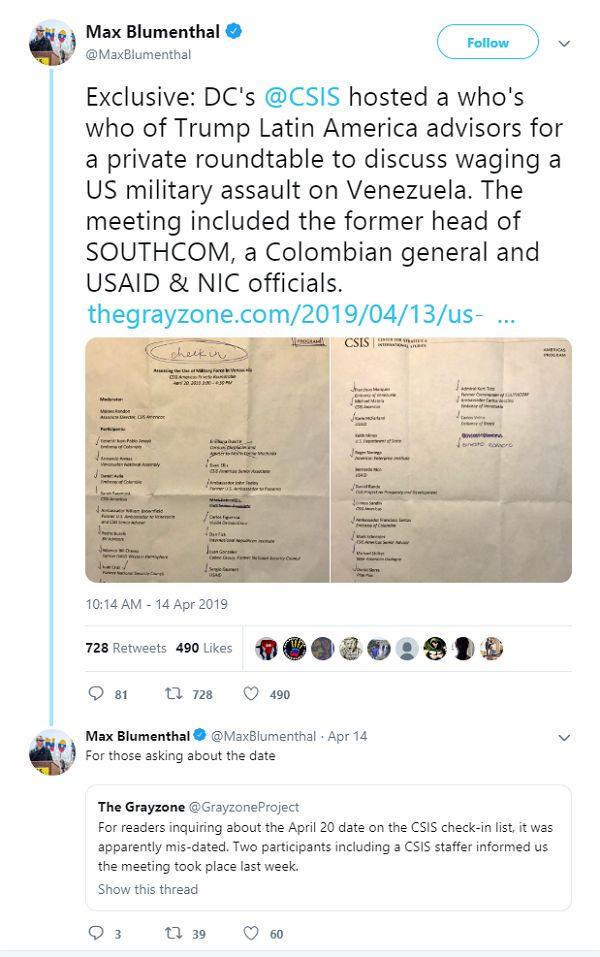 Tweet Max Blumenthal - Bildquelle: Screenshot-Ausschnitt Twitter