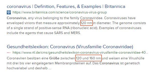 Größe Coronavirus - Bildquelle: Screenshot-Ausschnitt Duckduckgo-Suche