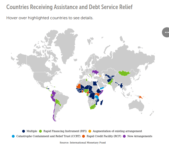 IWF Countries Receiving Assistance and Debt Service Relief - Bildquelle: Screenshot-Ausschnitt Website IWF