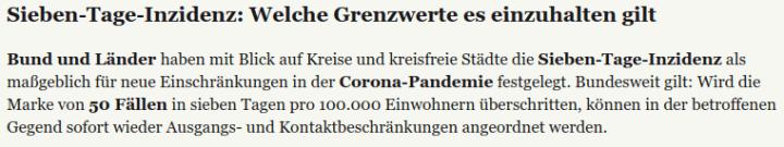 Sieben-Tage-Inzidenz - Bildquelle: Screenshot-Ausschnittt www.merkur.de