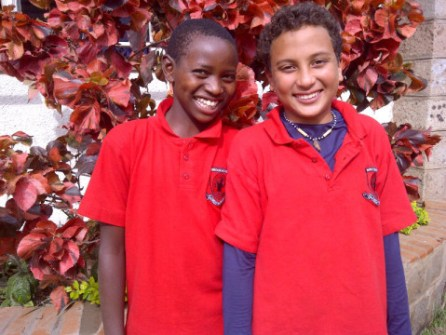 Richard Turere with a Friend at Brookhouse School