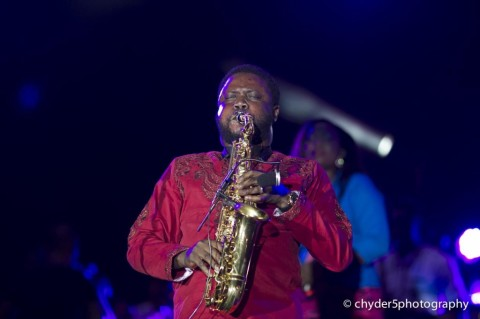Mike Aremu doing his thing - Sax all the way.
