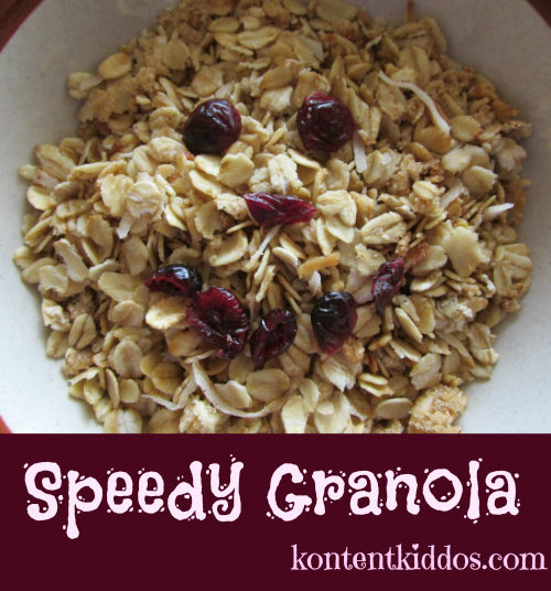 This granola is speedy!  You mix it right in your 9x13 pan...