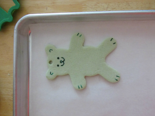 Bear salt dough Christmas ornament