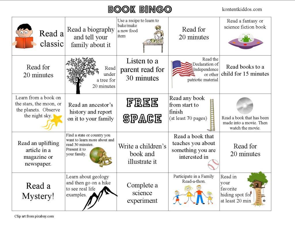 Older Elementary Book Bingo