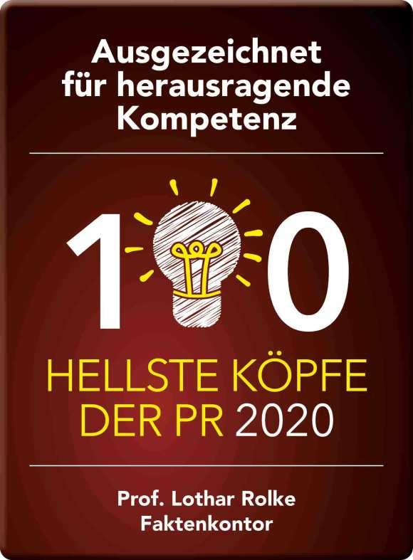 Als einer der 100 hellsten PR-Köpfe 2020 ist Jochen Weiß von KontextLiga ausgezeichnet: Siegel von Lothar Rolke und Faktenkontor.