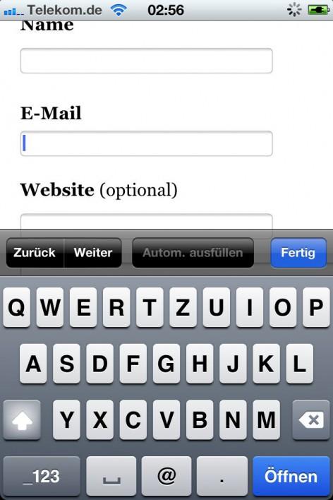 Passendes Tastaturlayout zum Eingabefeld für eine E-Mail Adresse.
