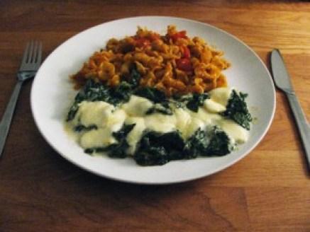 Vegetarisch maal: Paccheri al Pomodoro en Spinaci al Gratin