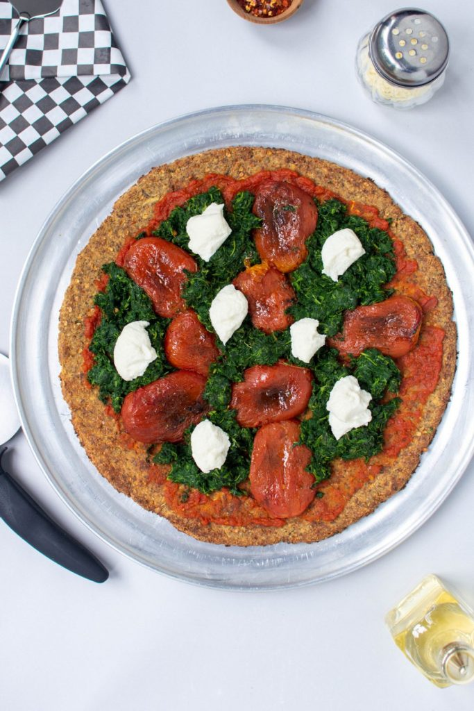 EGGPLANT PIZZA CRUST with spinach, ricotta, and roasted tomatoes