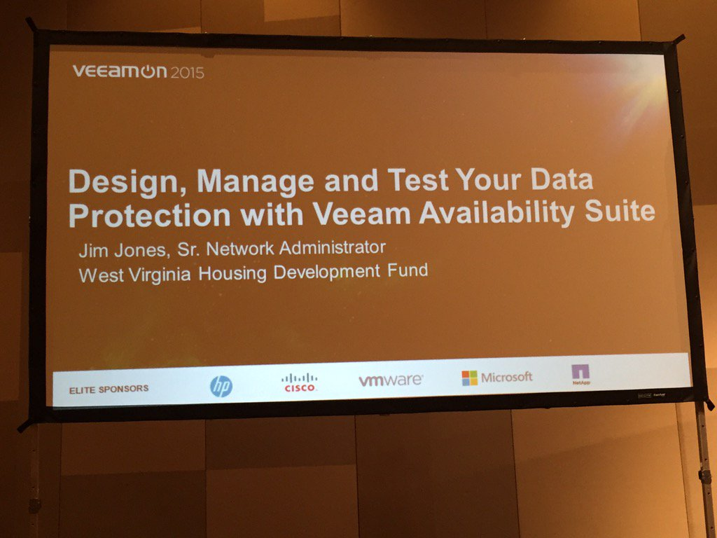 Presenting at VeeamON 2015: Design, Manage and Test Your Data Protection with Veeam Availabilty Suite