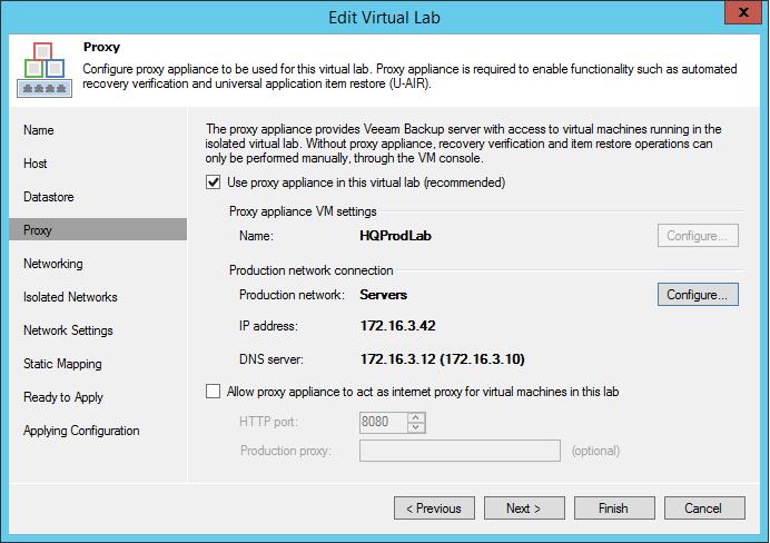 Setting Up External Access To A Veeam SureBackup Virtual Lab