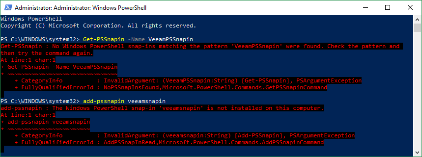 Reinstalling the Veeam Backup & Replication Powershell SnapIn