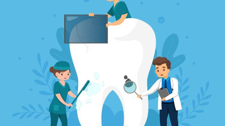 diş üzerinden inceleme yapan doktorlar illustrsyonu