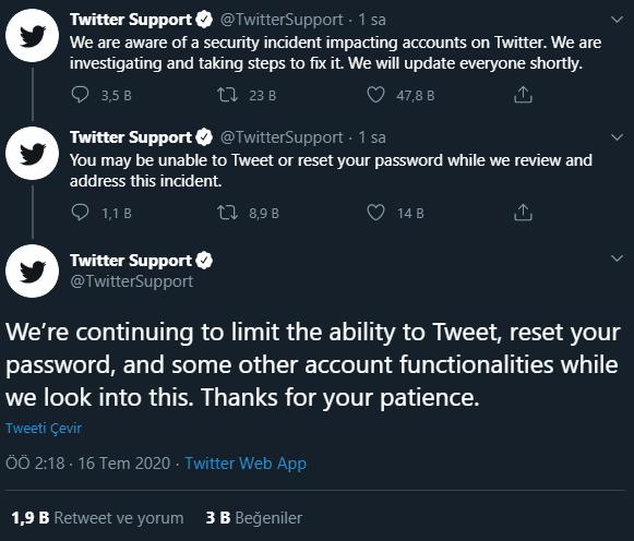 Twitter'dan Yapılan Açıklamalar