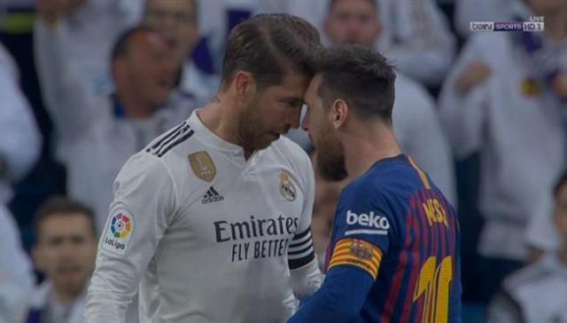 مشادة بين ميسي وراموس في مباراة برشلونة وريال مدريد