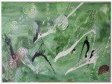 Gemälde Green Obsession von kooZal - Acrylbilder und Collagen Mischtechniken