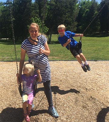 Lottie's Natural Hospital Birth - Katie and kids at the park