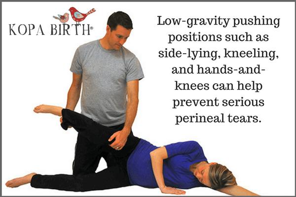 Natural birth tearing pushing positions