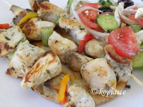 Chicken souvlaki with vegetables