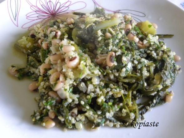 Mavromatika black eyed peas with wild greens