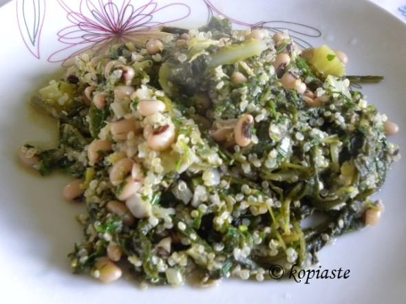 Mavromatika black eyed peas with wild greens