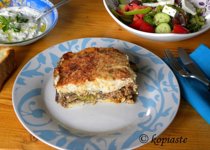 Moussakas greek salad tzatziki