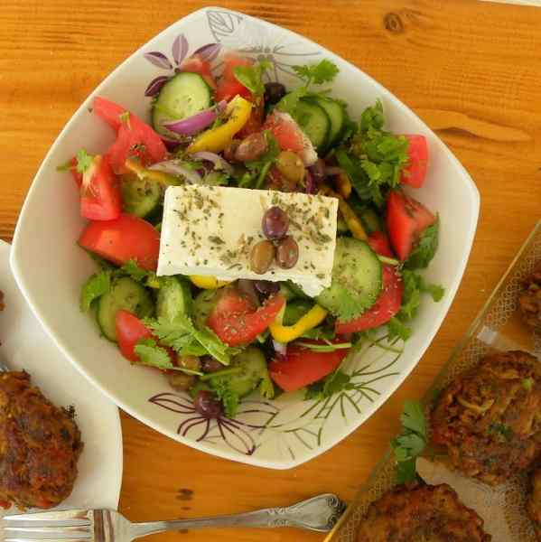 Cypriot Greek salad with coriander image