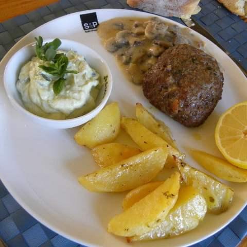 Mpiftekia (Greek Feta Burgers) with Baked Potatoes, Horta and Garlicky Cucumber Salad