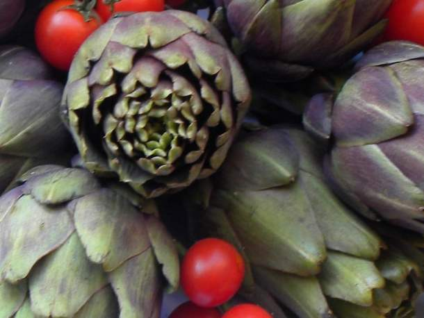 Artichokes in the market photograph