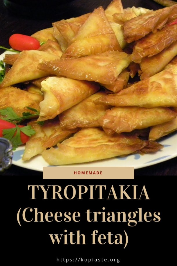 Collage Tyropitakia Cheese triangles with feta image