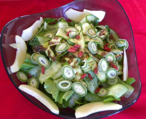 Green almonds tsagala salad image
