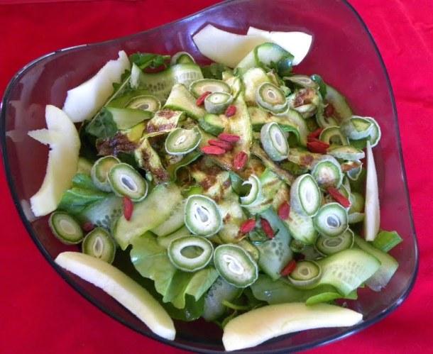 Green almonds tsagala salad image