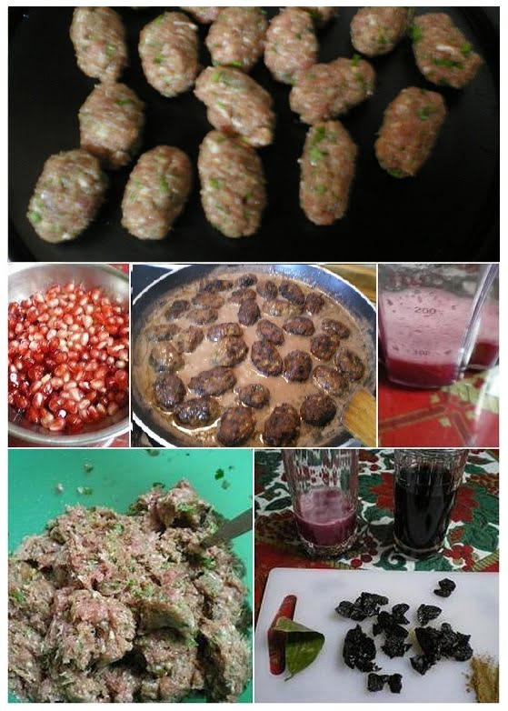 Collage meatballs in pomegranate sauce image