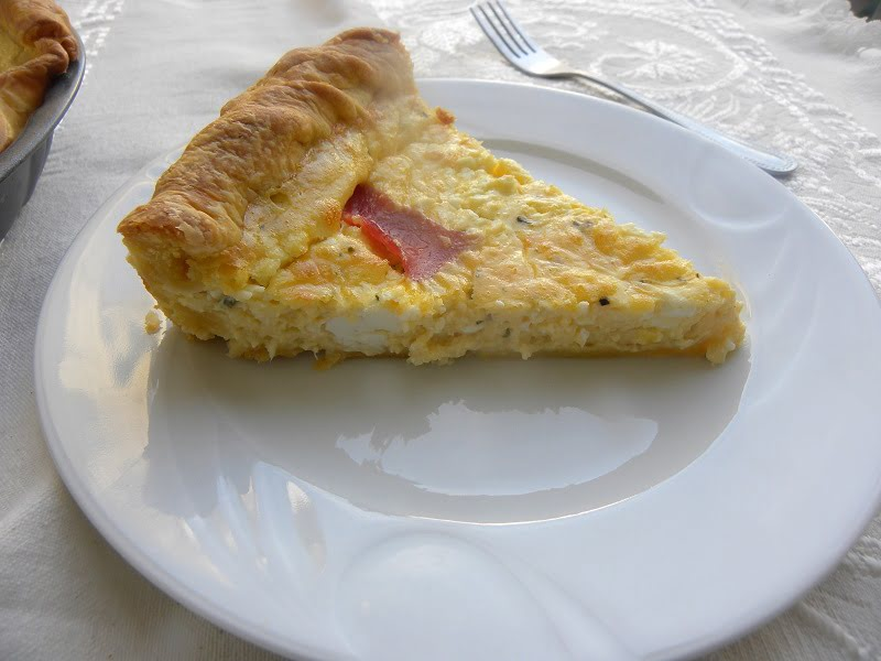 Feta and Graviera Quiche with Bacon
