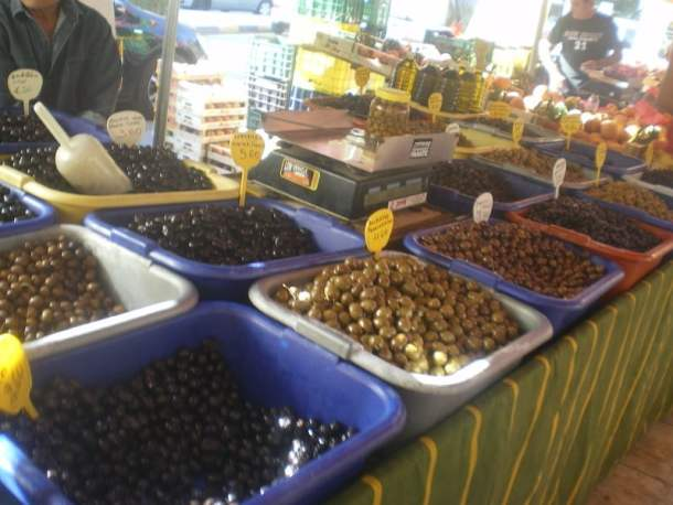 Olives sold at a farmers market