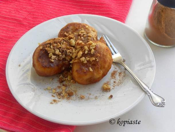 loukoumades with moustos and banana image