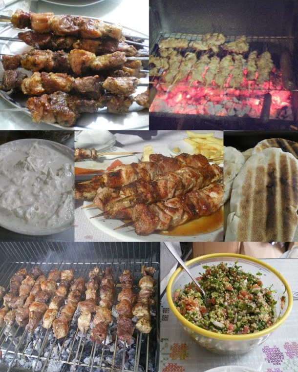 Collage grilling pork and lamb souvlakia picture