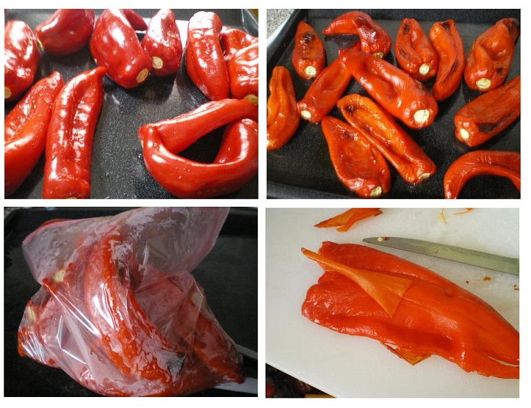 collage roasted red pepper piperies Florinis