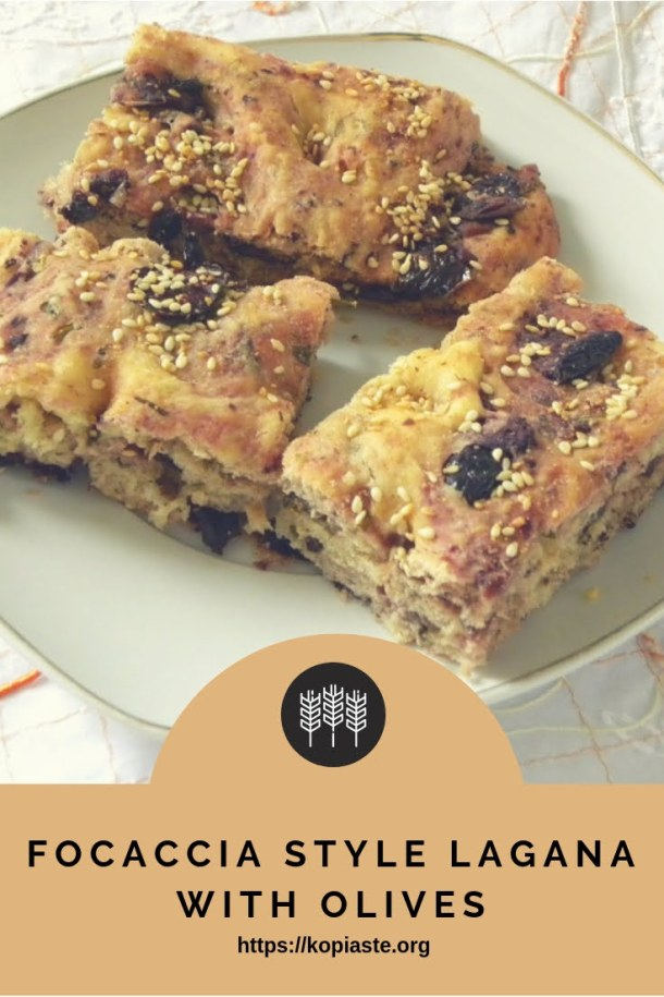 Focaccia style Lagana with Olives image
