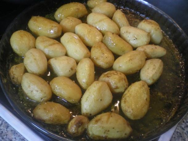 Greek roasted lemony potatoes picture