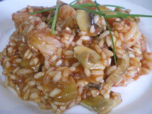 shrimp risotto with chives
