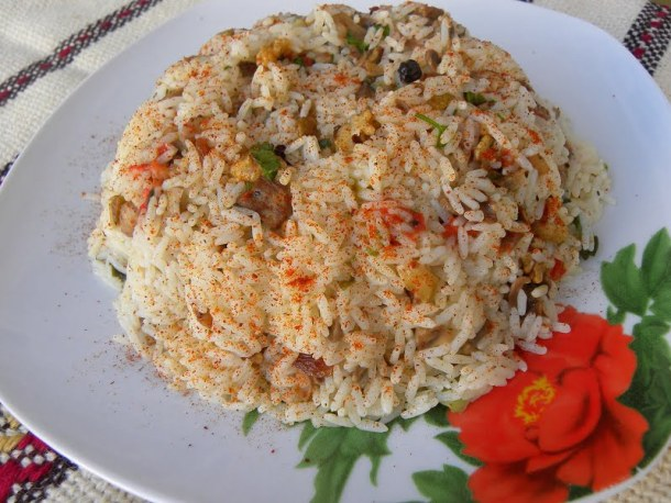 Festive rice pilaf with mushrooms image