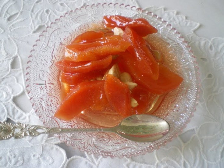 Glyko Kydoni (Quince Preserve) with Almonds