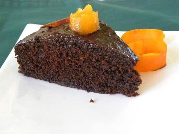 Chocolate revani with chocolate syrup image