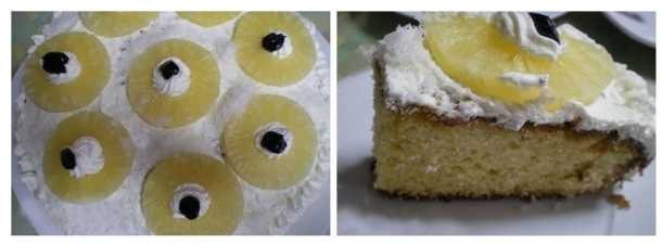 revani with whipped cream and pineapple image